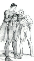 1993 Curt Swan sketch of Nightwing and Flamebird